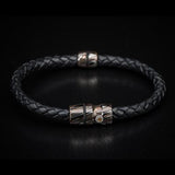 William Henry Mokume Gane Metal Leather Mens Bracelet 3