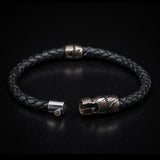 William Henry Mokume Gane Metal Leather Mens Bracelet 4