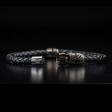 William Henry Mokume Gane Metal Leather Mens Bracelet 6