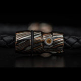 William Henry Mokume Gane Metal Leather Mens Bracelet 7