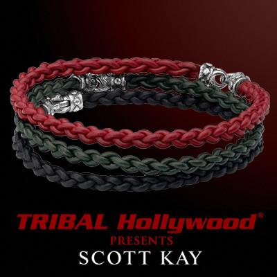 Scott Kay CORD BRAID COMBO Set of Three Mens Leather Bracelets