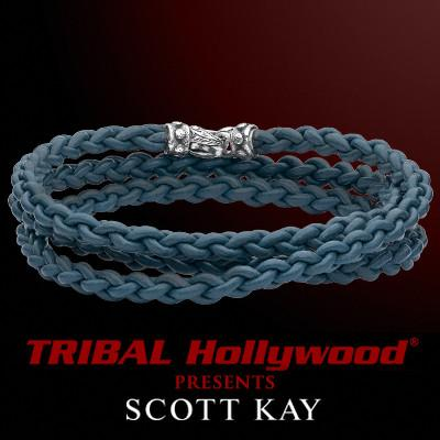Scott Kay CORD BRAID TRIPLE BLUE Wraparound Blue Leather Mens Bracelet