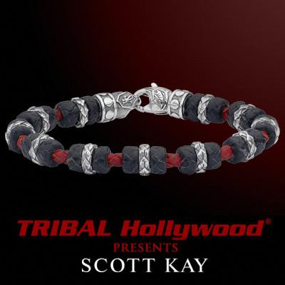 Scott Kay GATOR LINK TURKISH KNOT Black and Red Leather Mens Bracelet