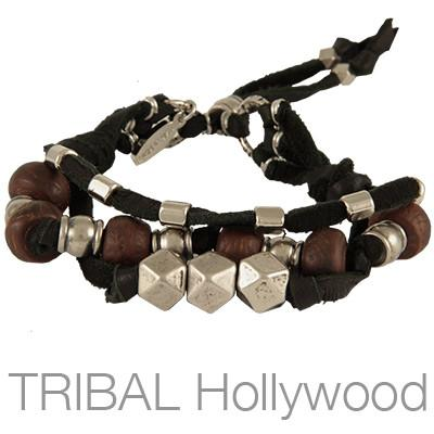 Ettika Man Treasure Hunter Black Leather Bodhi Seed Bracelet
