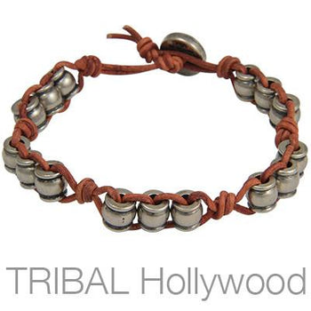 Ettika Wine Barrel Red Leather Wine Barrel Bead Bracelet