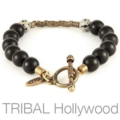Black Gold Agate and Dalmatian Stone Mens Bead Bracelet