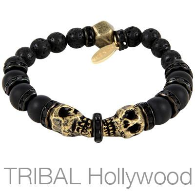 Ettika Man Black Eyes Twin Skulls Mens Onyx Bead Bracelet