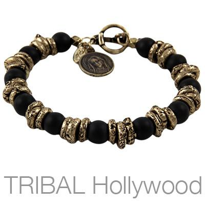 Ettika Man Bead Bracelet ROOKERY Mens with Brass Virgin Mary