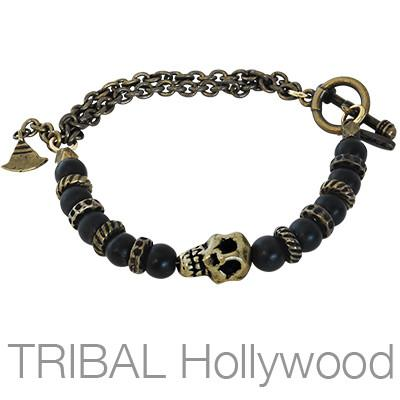 Ettika Man BLACK EYES Skull Oxidized Brass Mens Bead Bracelet