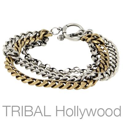 Mens Bracelet METALLURGY Curbed Link Bracelet in Silver and Brass | Tribal Hollywood