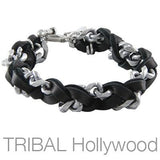 Mens Bracelet ESTUARY BLACK Leather and Silver Chain with Cross | Tribal Hollywood