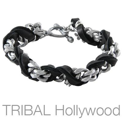 Mens Bracelet ESTUARY BLACK Leather and Silver Chain | Tribal Hollywood