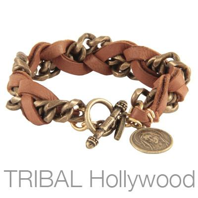Mens Bracelet ESTUARY Red Leather and Brass Chain with Virgin Mary | Tribal Hollywood