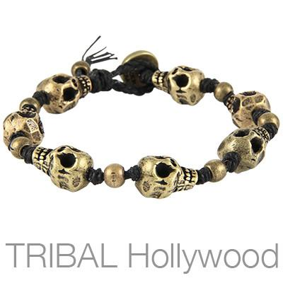 Mens Bracelet THE BONEYARD BRASS Skull Bead | Tribal Hollywood