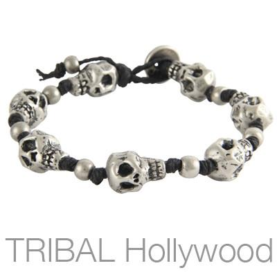 Mens Bracelet THE BONEYARD SILVER Skull Bead | Tribal Hollywood