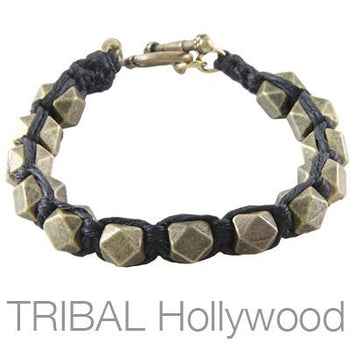 Ettika Man The Cubic Brass Geometric Cubes Bead Bracelet