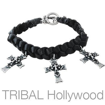 Ettika Man Three Silver Crosses Deerskin Leather Bracelet