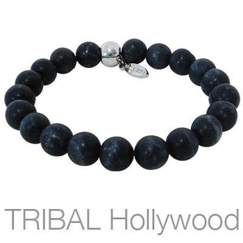 Ettika Man Black Agate Mens Bead Bracelet with Silver Bead