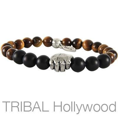 Ettika Man Fighting Tiger Silver Fist Mens Bead Bracelet