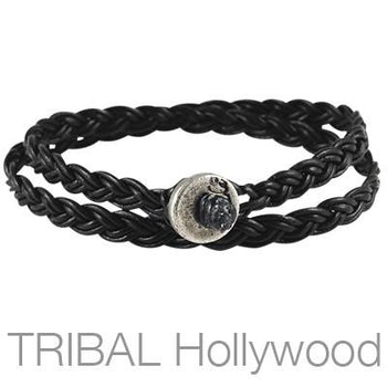 Ettika On The Button Black Double Wrap Mens Leather Bracelet