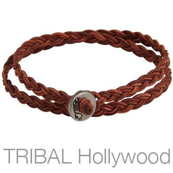 Ettika Man Rust Red Leather Double Wrap Mens Bracelet