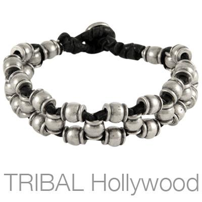 Ettika Man Napa Valley Silver Mens Wine Barrel Bead Bracelet