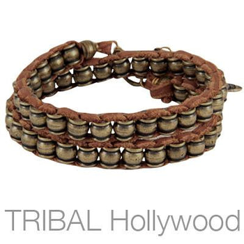 Mens Bracelet THE KNOLL Double Wrap Red Leather with Brass