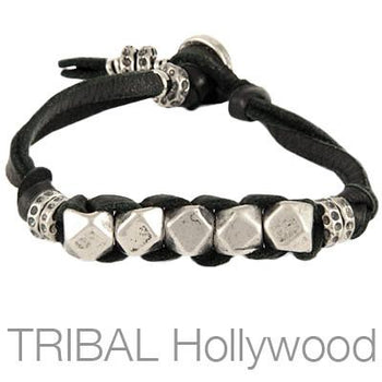 Ettika Man Quintet Silver Cubes Mens Black Leather Bracelet