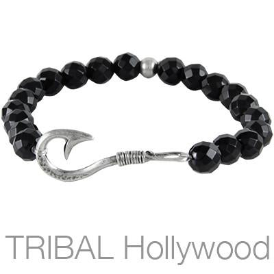 Ettika Man Fisherman Hook Black Onyx Mens Bead Bracelet