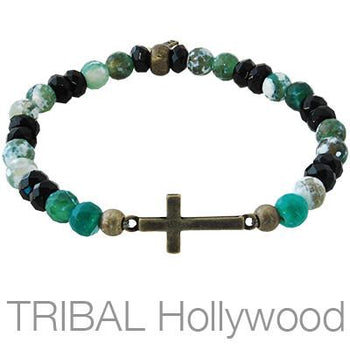 Ettika Man CRUX Cross Multicolored Glass Mens Bead Bracelet