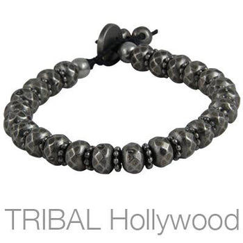 Ettika Man Silver Vision Multifaceted Silver Bead Bracelet
