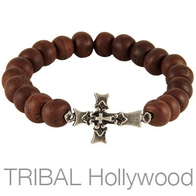 Ettika Man Bodhi Seed Cross Mens Bead Bracelet