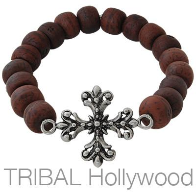 Ettika Man Bodhi Seed Fleury Cross Wood Prayer Bead Bracelet