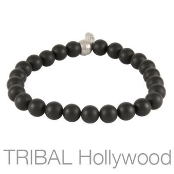 Mens Bead Bracelet ION BLACK AGATE Medium Width | Tribal Hollywood