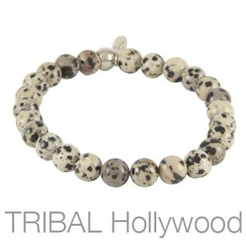 Mens Bead Bracelet ION DALMATIAN Thin Width | Tribal Hollywood