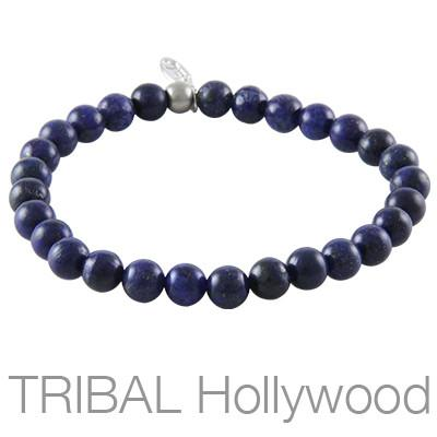 Mens Bead Bracelet ION BLUE LAPIS Medium Width | Tribal Hollywood