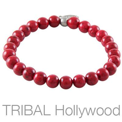 Mens Bead Bracelet RED RIVER BEET Medium Width | Tribal Hollywood