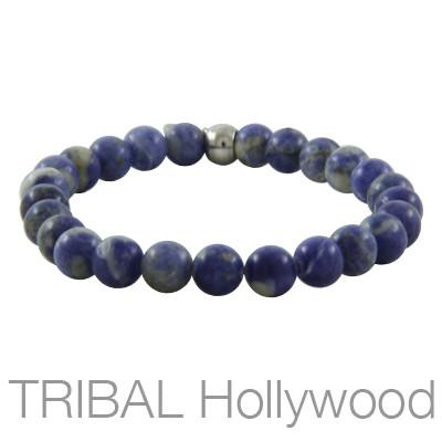 Mens Bead Bracelet ION SODALITE Thin Width | Tribal Hollywood