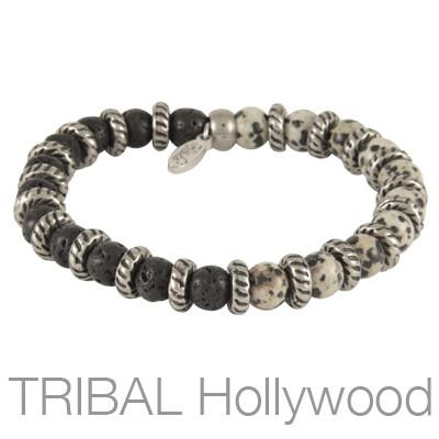 Mens Bracelet VOLCANIC DALMATIAN with Black Lava Beads | Tribal Hollywood