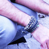 Mens Bracelet VOLCANIC DALMATIAN with Black Lava Beads Lifestyle