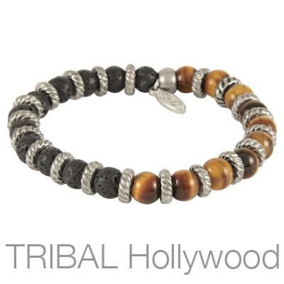 Mens Bracelet VOLCANIC TIGERS EYE with Black Lava Beads | Tribal Hollywood