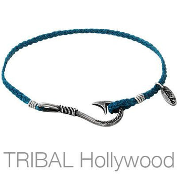 Ettika Man Fisherman Hook Blue Cord Mens Fishhook Bracelet