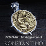 Konstantino Hercules Archer Bronze Coin Necklace Pendant