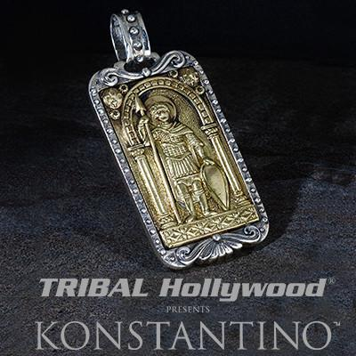 Konstantino Constantine Warrior Bronze Mens Dog Tag Pendant