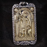 Konstantino Constantine Warrior Bronze Mens Dog Tag Pendant Front View