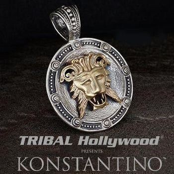 Konstantino Greek Lion Mask Silver Mens Necklace Pendant