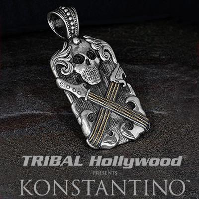 Konstantino Gold String Skull Guitar Silver Necklace Pendant
