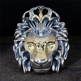 Konstantino Crowned Lion Silver Gold Mens Necklace Pendant Front View