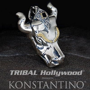 Konstantino Greek Bullhead Silver Gold Mens Necklace Pendant