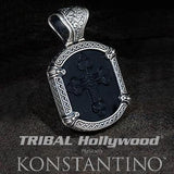 Konstantino 3D Black Onyx Cross Silver Mens Necklace Pendant